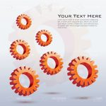 Orange Gears Vector Background